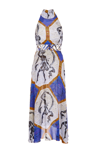 Medium tata naka print halter cutwork midi dress