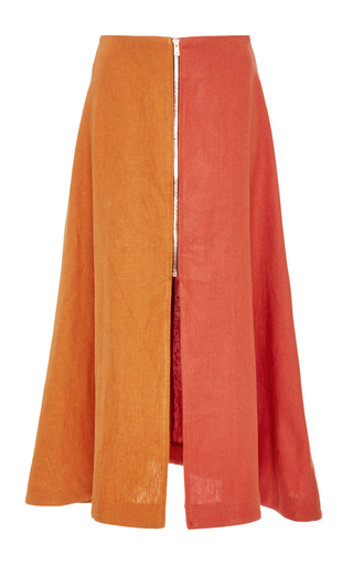 Medium tata naka orange zip front two tone skirt