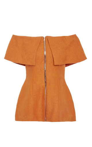 Medium tata naka orange zip front off shoulder jacket