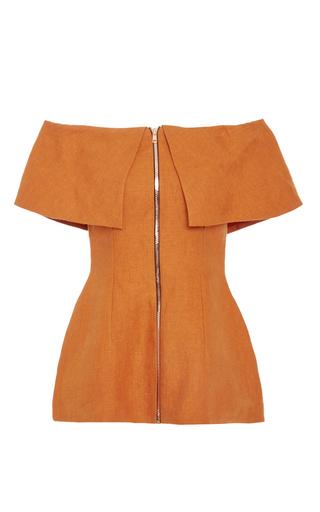 Medium tata naka orange zip front off shoulder jacket