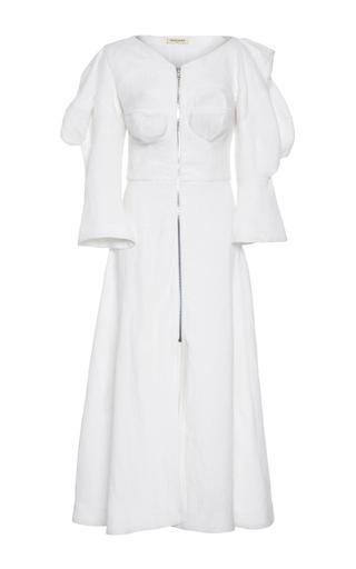 Medium tata naka white zip front sculpture midi dress