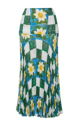 Medium tata naka print pleated column skirt
