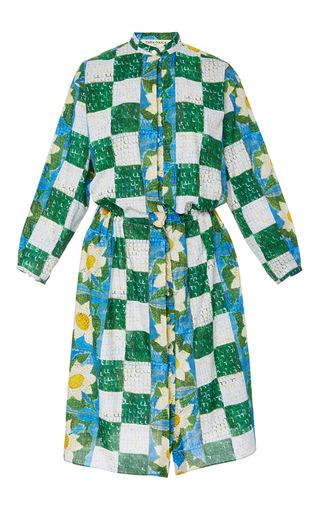 Medium tata naka print knee length drawstring shirt dress
