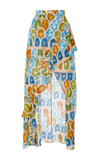 Medium tata naka print frill front high low skirt