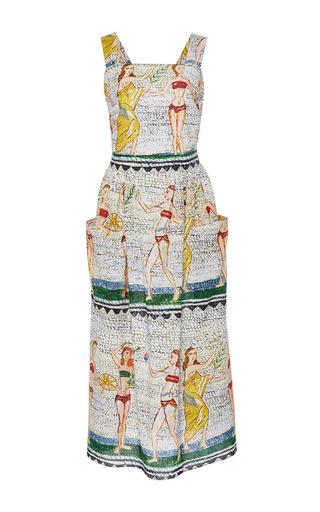 Medium tata naka print square neck apron midi dress