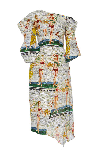 Medium tata naka print asymmetric one shoulder sculpture print dress