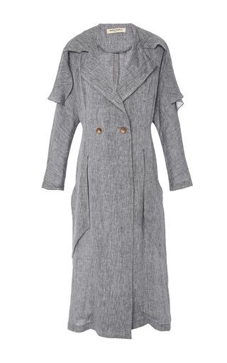 Medium tata naka light grey double breasted oversized collar coat dress