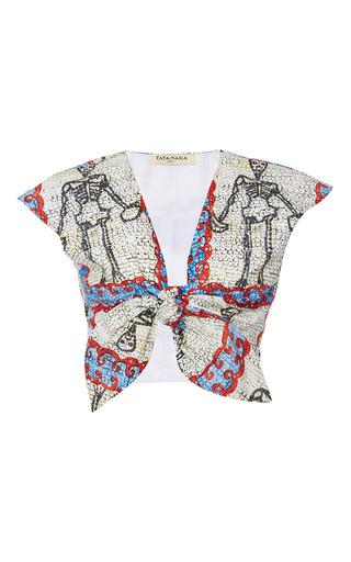 Medium tata naka print printed tie front top