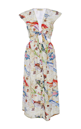 Medium tata naka print tie front button down printed dress