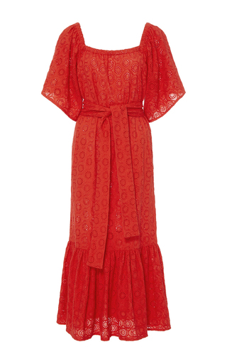 Medium rhode resort red jay belted open shoulder dress