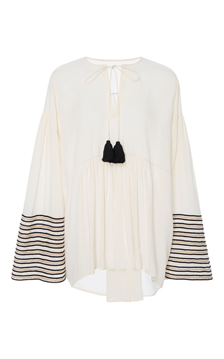 Medium rhode resort white tina striped sleeve tassel top