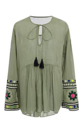 Medium rhode resort green tina embroidered sleeve tassel top