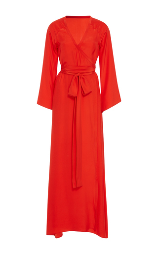 Medium rhode resort red stella solid wrap dress