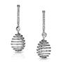Medium faberge gold spiral diamond white gold earrings