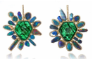 Medium kimberly mcdonald green emerald and boulder opaland diamond lever back earrings