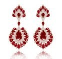 Medium sutra red ruby and diamond earrings