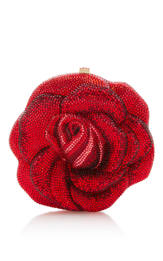 Medium judith leiber red new rose clutch