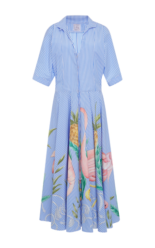 Medium stella jean blue rampante floral striped shirt dress