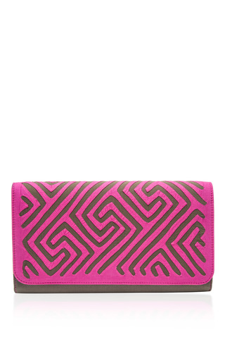 Medium mola sasa purple napa clutch
