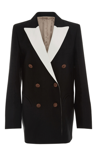 Medium blaze black mid day sun double breasted contrast lapel blazer