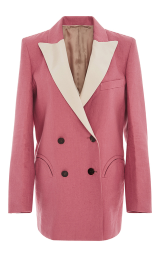 Medium blaze pink mid day sun double breasted contrast lapel blazer 2