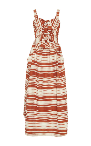 Medium whit brown sage serepe stripe dress