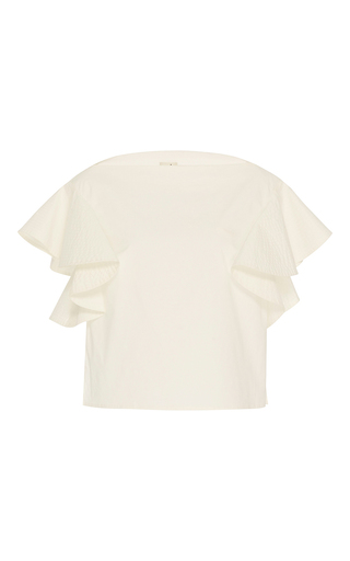 Medium whit white stretch poplin wave top