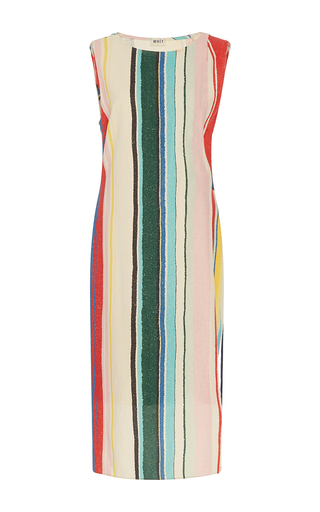 Medium whit multi sleeveless palm dress