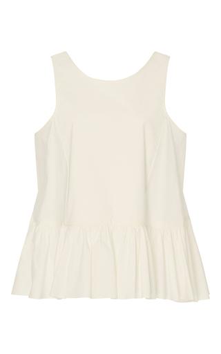 Medium whit white floret stretch poplin top