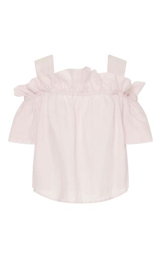 Medium whit pink mariposa petal ruffle top