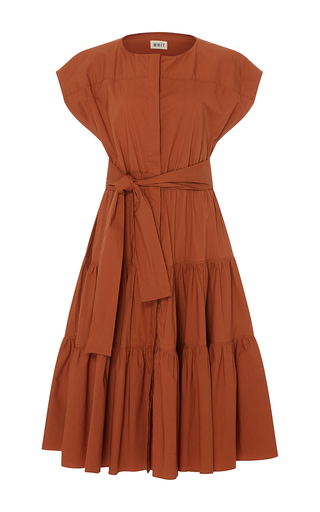 Medium whit brown ray stretch poplin dress