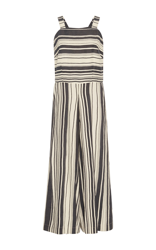 Medium whit blue kite serepe stripe sleeveless jumpsuit