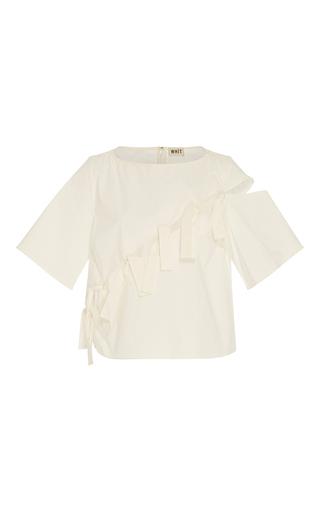 Medium whit white short sleeve tie top