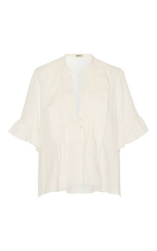 Medium whit white isa ruffle top