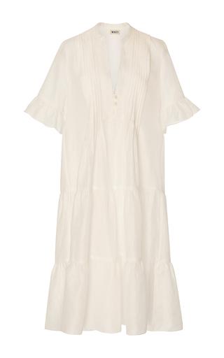 Medium whit white isa ruffle linen dress