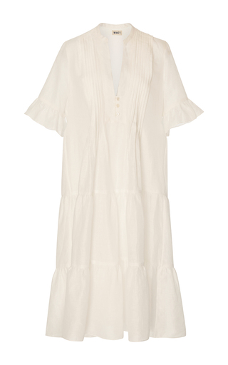 Medium whit white isa ruffle linen dress