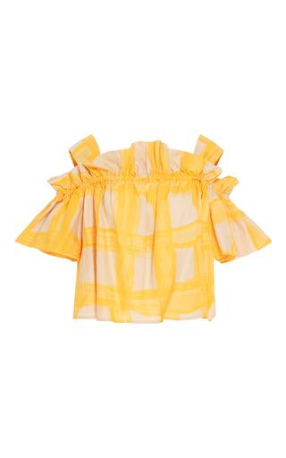 Medium whit yellow mariposa ruffle top