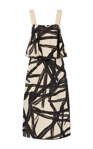 Medium whit black umbrella wild lines print dress