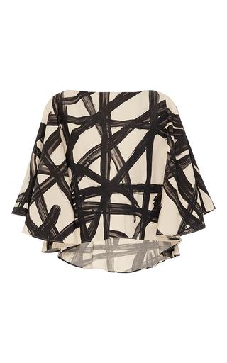Medium whit black wild lines print cape top