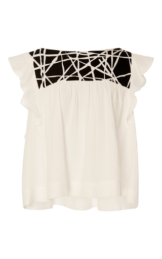 Medium whit white bailey ruffled gauze top