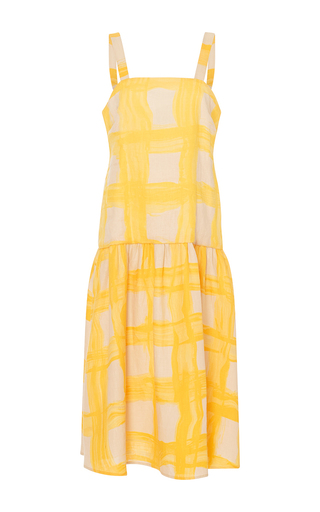 Medium whit yellow wild grid print hazel dress