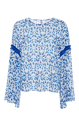 Medium tanya taylor print textured leaf ikat martine top