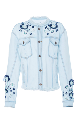 Medium tanya taylor blue embellished marlon denim jacket