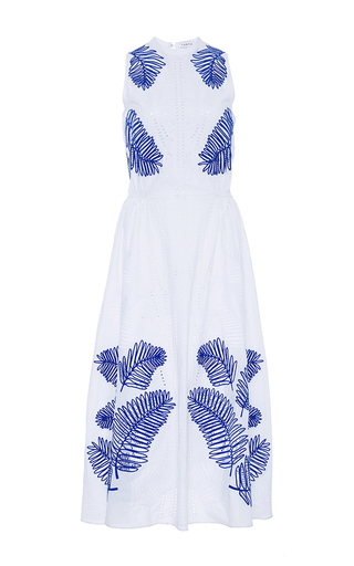 Medium tanya taylor white palm embroidered delphine dress