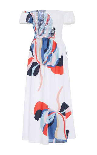 Medium tanya taylor white floral ribbon zanna dress