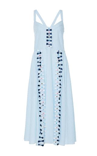 Medium tanya taylor blue embroidered menswear stripe pari dress