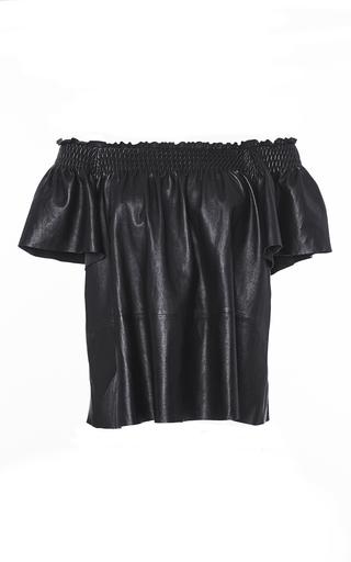 Medium tanya taylor black smocked leather carmen top