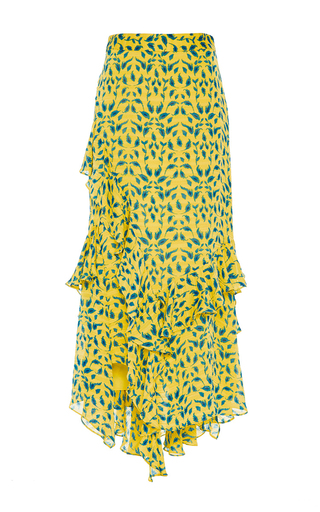 Medium tanya taylor yellow textured leaf ikat rita skirt