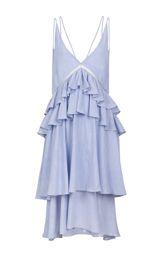 Medium lala berlin blue casper ruffle midi dress