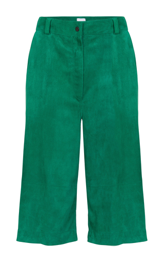 Medium lala berlin green liam velour bermuda shorts